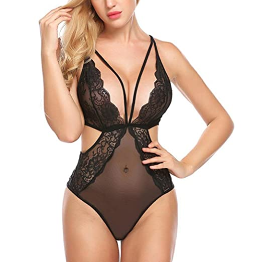 e36ffa3e04 Image Unavailable. Image not available for. Color  Rambling New Women One  Piece Sexy Lingerie Lace Teddy Mini Bodysuit Mesh Babydoll Hollow Underwear