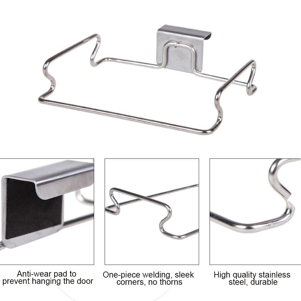Pour arri/ère de porte En acier inoxydable Support pour sac poubelle