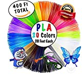 3D Pen Filament Refills - 400 Total Feet, 20 Colors, 20 Feet Each, PLA 1.75mm, Non-Toxic, Safe for Kids, Odorless, Made for ALL Ages, Compatible with Most 3D Pens