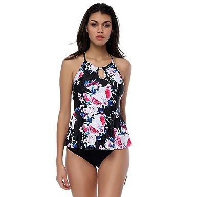 d86041fe8f Womens Vintage Swimwear Tankin Set with Boyshort Two Piece Swimsuit for  Women