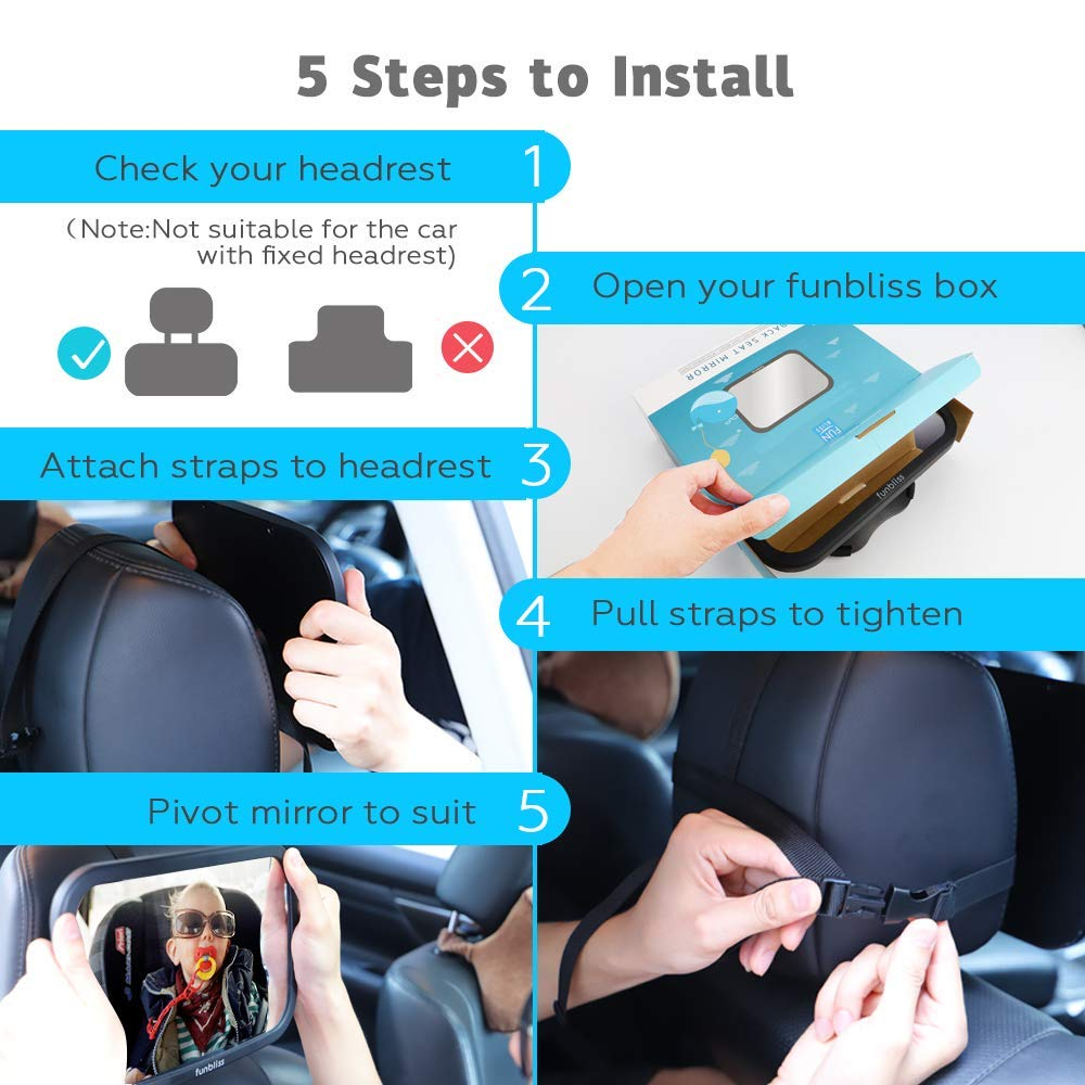 Baby Car Mirror for Back Seat Black - Safely Monitor Infant Child in Rear Facing Car Seat,See Children or Pets in Backseat,Best Newborn Car Seat Accessories, Fully Assembled, Shatterproof by Funbliss