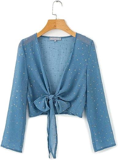 ERSD Sexy de las mujeres con cuello en V de gasa brillante Shinny Blusa corta Tops Cubierta de playa Camisetas casuales de las mujeres Blusa ocasional Camisa de verano de gasa Blusas: