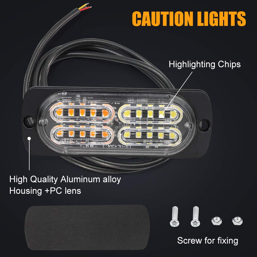 2pcs 12LED White Led Light-Head Emergency Beacon Hazard Warning Light Flashing Strobe Light Bar Universal for Construction Vehicle Car Truck Trailer 12-24V
