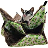 WOWOWMEOW Small Animal Cage Hanging Bunkbed Hammock Warm Fleece Bed for Sugar Glider Ferret Squirrel (Green)