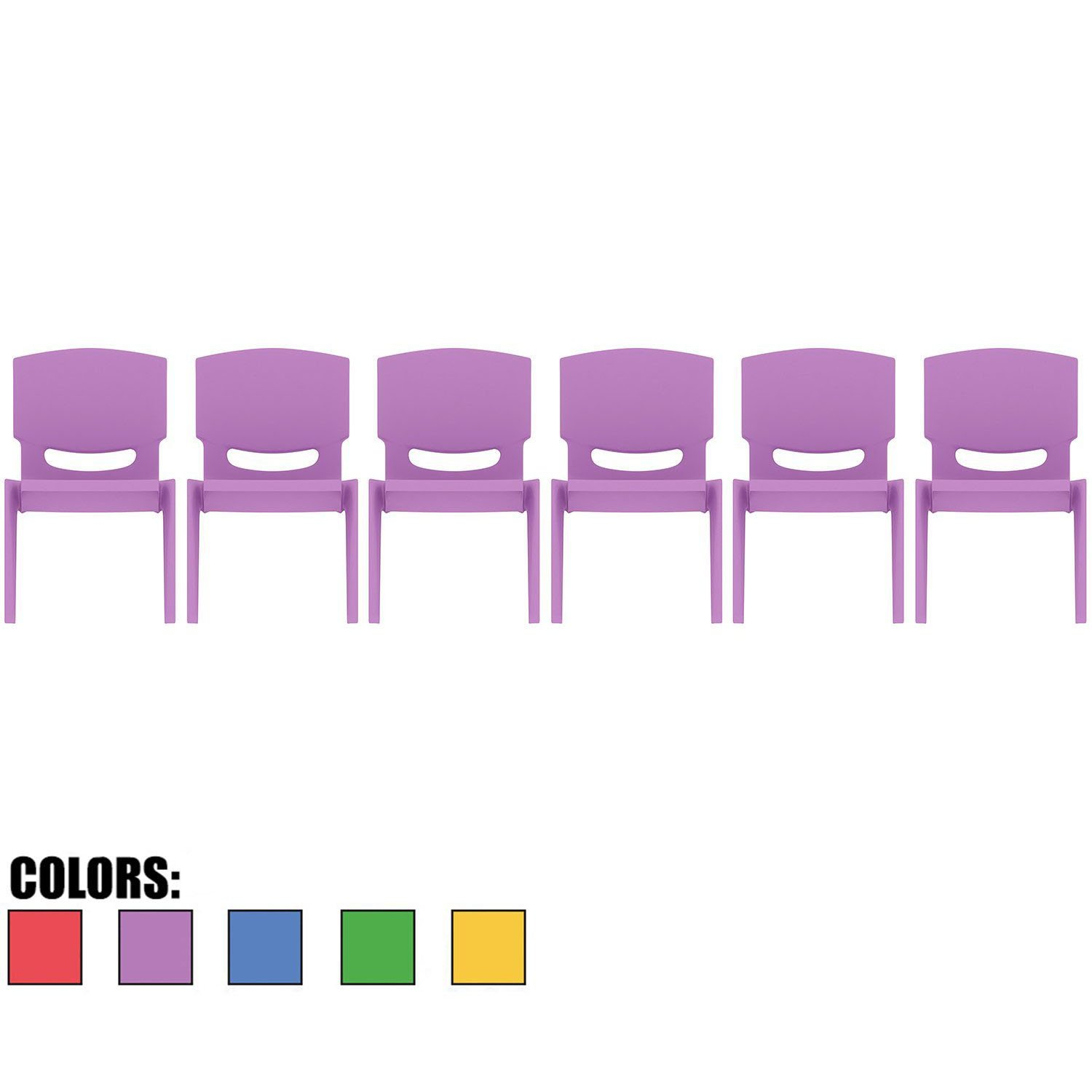 2xhome - Set of Six (6) - Purple - Kids Size Plastic Side Chair 10'' Seat Height Purple Childs Chair Childrens Room School Chairs No Arm Arms Armless Molded Plastic Seat Stackable