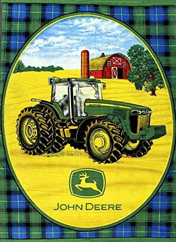 Fleece John Deere Tractors Farmer Farming Black Watch Fleece Fabric Panel (p1560576m) (Fleece Fabric Throw Blanket)