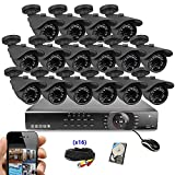 Best Vision Systems 16 Channel 1TB 1080N DVR Security Surveillance System with (16) 1MP AHD Outdoor Bullet Cameras