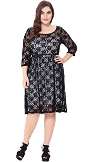 b43ff7c778 Bigood Women Ladies Plus Size 3 4 Sleeve Round Neck Casual Lace Dress Black