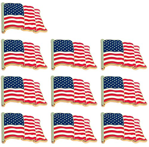 Bassion 10 Pcs American Flag Pins Waving United States Patriotic USA Lapel (Flag Design Lapel Pin)