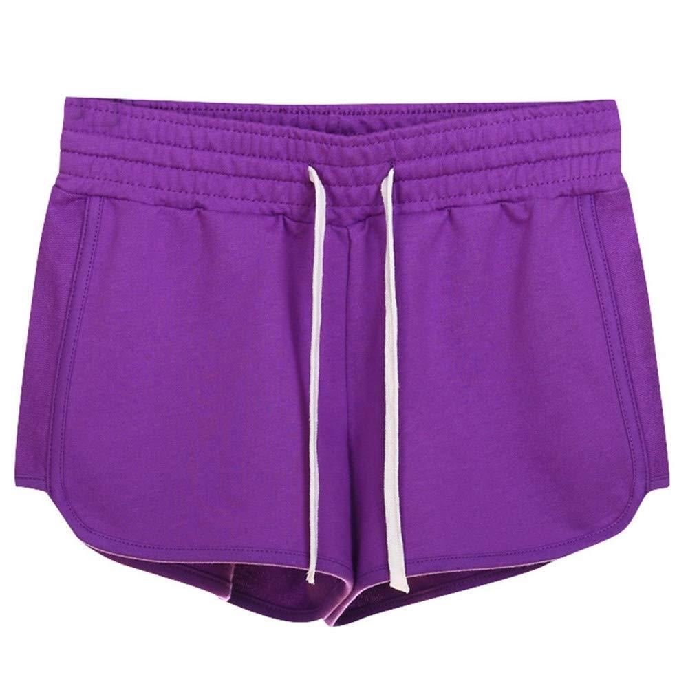 BAOHOKE Solid Color Drawstring Pocket Casual Sports Shorts,Fashion Wide Leg Soft Elastic Waist Hot Pants(Purple,M)