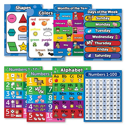 8 Laminated Educational Poster Charts - Abc - Alphabet, Numbers 1-10, Shapes, Colors, Numbers 1-100, Days of the Week, Months of the Year