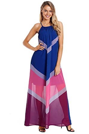 08dff244ed4 FUSENFENG Womens Sleeveless Chiffon Halter Flowy Casual Long Maxi Dress at  Amazon Women s Clothing store