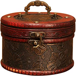 GWW Round Rustic Jewelry Chest,Small Portable Treasure Box,Vintage Wooden Jewelry Box A 141310cm