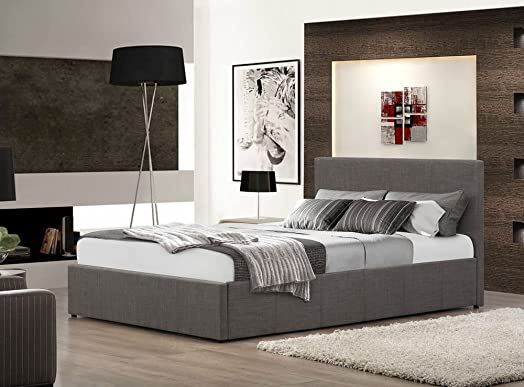 happy beds berlin ottoman bed grey fabric modern storage frame bedroom 5u0027 king size 150