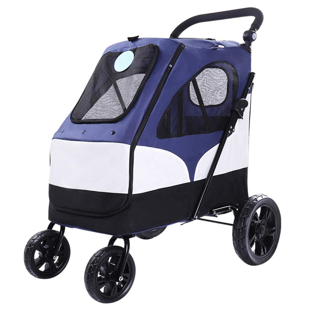 bluee MZP Disabled Dog Pushchair Trailer Pet Stroller Four-Wheeled Dog Trolley Folding Large Space Bearing 55KG for Outbound Use Suspension Large 360 Degree redatable (color   bluee)