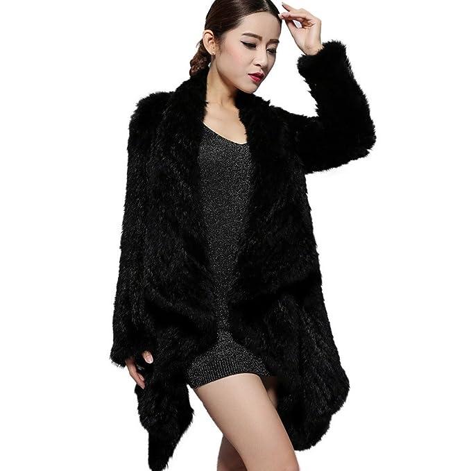 Fur Story 14152 para Mujer Largo Real Pelo de Conejo Abrigo Negro: Amazon.es: Ropa y accesorios