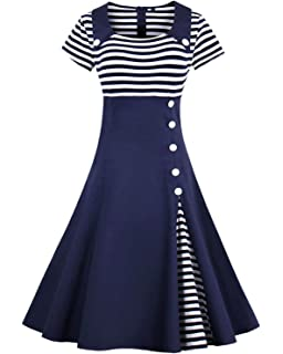 7393c06a43432 ZAFUL Women Vintage Dress 1950s Nautical Style Summer Sailor Collar  Sleeveless Cute Cocktail Party Swing Dresses