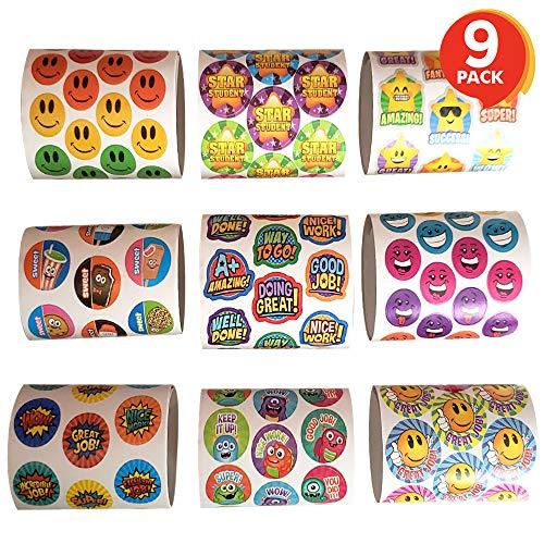 ArtCreativity Teacher Reward Stickers for Kids | 9 Rolls with Over 600 Stickers | Bulk Positive Reinforcement Student Rewards | Classroom Prize | Elementary, Kindergarten, Preschool School - Reward System Sticker