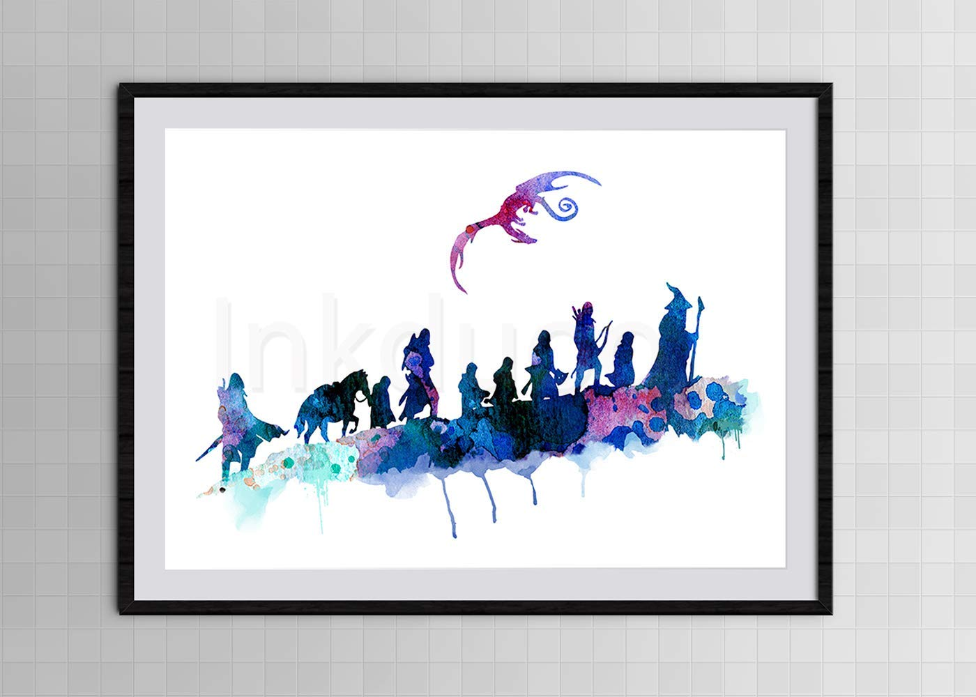 ART PRINT Lord of the Rings The Fellowship illustration Wall Art Movie Gift