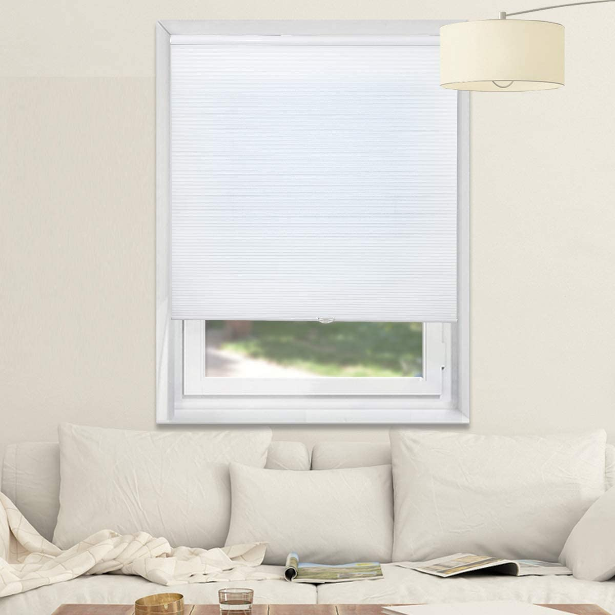 Corlless Blinds Cellular Shades Honeycomb Shades Light Filtering Fabric Blinds for Home and Office, White, 34x64