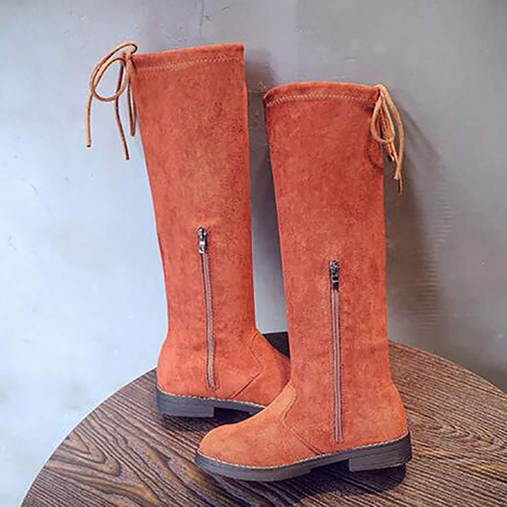 XinYiQu Girls Suede Knee High Girls Boots Warm Cotton Winter Boots Kids