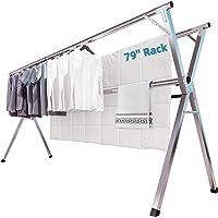 Soporte de pared plegable Tendedero,304 de acero inoxidable retr/áctil lavander/ía Tendedero//ba/ño toallas con los ganchos,a prueba herrumbre que ahorra espacio Hanger de ropa interior al aire libre