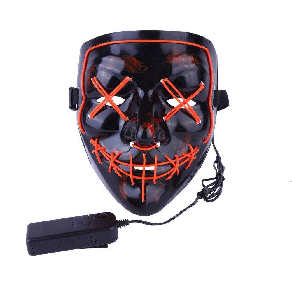 Poptrend Halloween Mask LED Light up Purge Mask for Festival Cosplay Halloween Costume Masquerade Parties,Carnival,Gifts