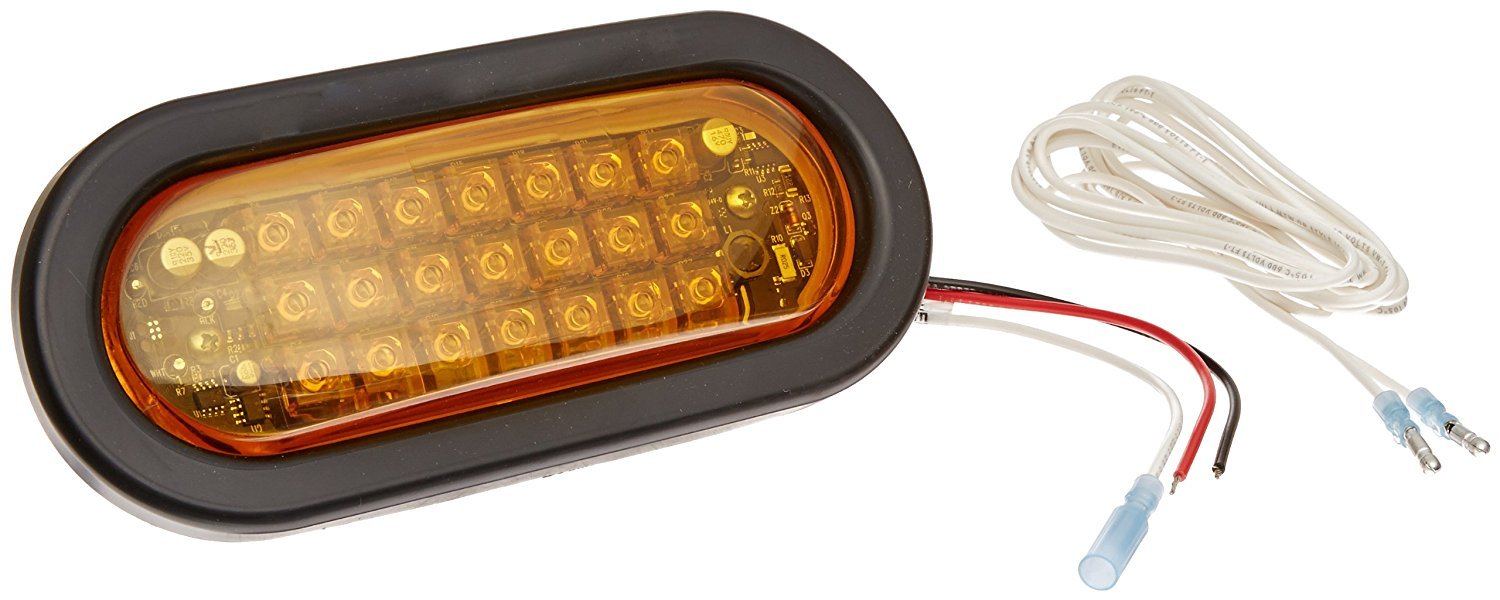 North American Signal LEDQO-A LED Oval Warning Light with Grommet Mount, 12/24V, 0.33A Current, Amber