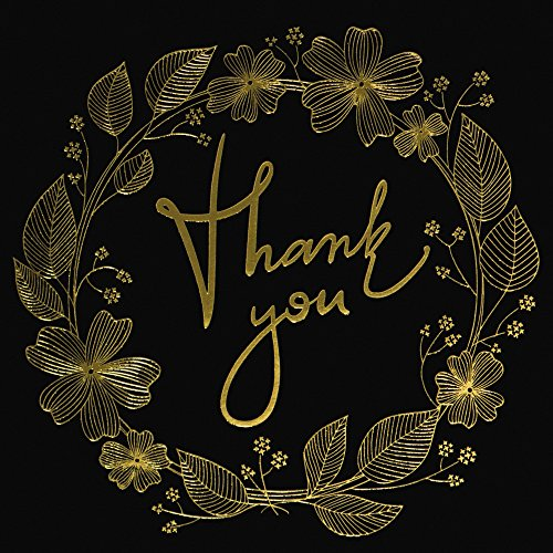 50 Thank You Cards with Gold Floral Script Black Photo #2