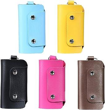 5 Piezas Estuches de Llaves de Cuero Unisex Llavero Color Puro Titular de La Clave de La Carpeta con 6 Llaveros: Amazon.es: Equipaje