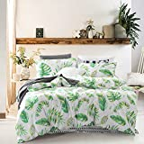 Tree Leaves Duvet Cover Set, 100% Cotton Bedding, Green Monstera Plant and Banana Leaves Pattern Printed on White, with Zipper Closure (3pcs, Queen Size)
