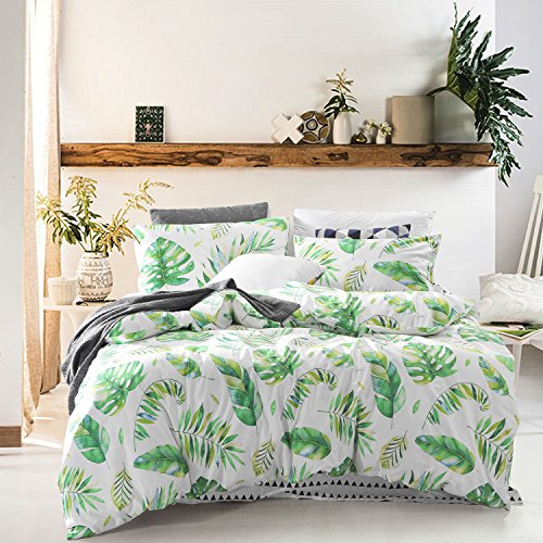 Tree Leaves Duvet Cover Set, 100% Cotton Bedding, Green Monstera Plant and Banana Leaves Pattern Printed on White, with Zipper Closure (3pcs, Queen - Green Leaves Plant