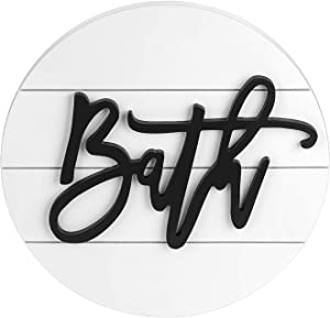 """Modern Rustic 3D Bath Sign,Shiplap Farmhouse Bathroom Round Sign for Wall Hanging Decor, Handcrafted """"Bath"""" Sign Home Wooden Sign (White)"""