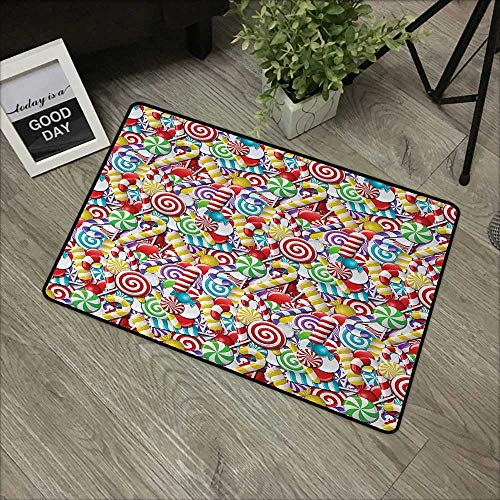 Moses Whitehead Front Door Mat Candy Cane,Bonbons Lollipops Sugary Treats Sweeties Colorful Pile for Festive Occasions,Multicolor,for Indoor Outdoor Easy Clean Entry Way,24