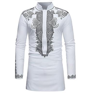 Rera Homme Chemise Long Africain Slim Fit Manches Longues Col Mao Boutonné  Top Blouse Casual Tee Shirt Imprimé Floral Style Ethenique Repassage  Facile  ... 0722e484b56