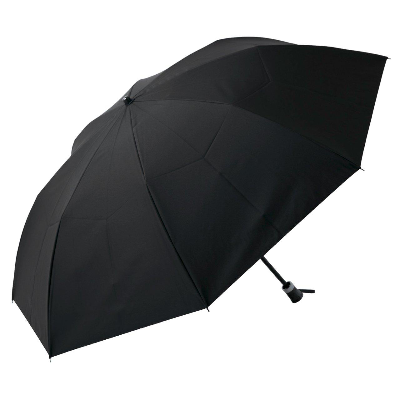 【Rose Blanc】100%完全遮光 日傘 2段折りたたみ ラージサイズ プレーン(傘袋付) 男女兼用60cm (ブラック) B01ESG10DMブラック