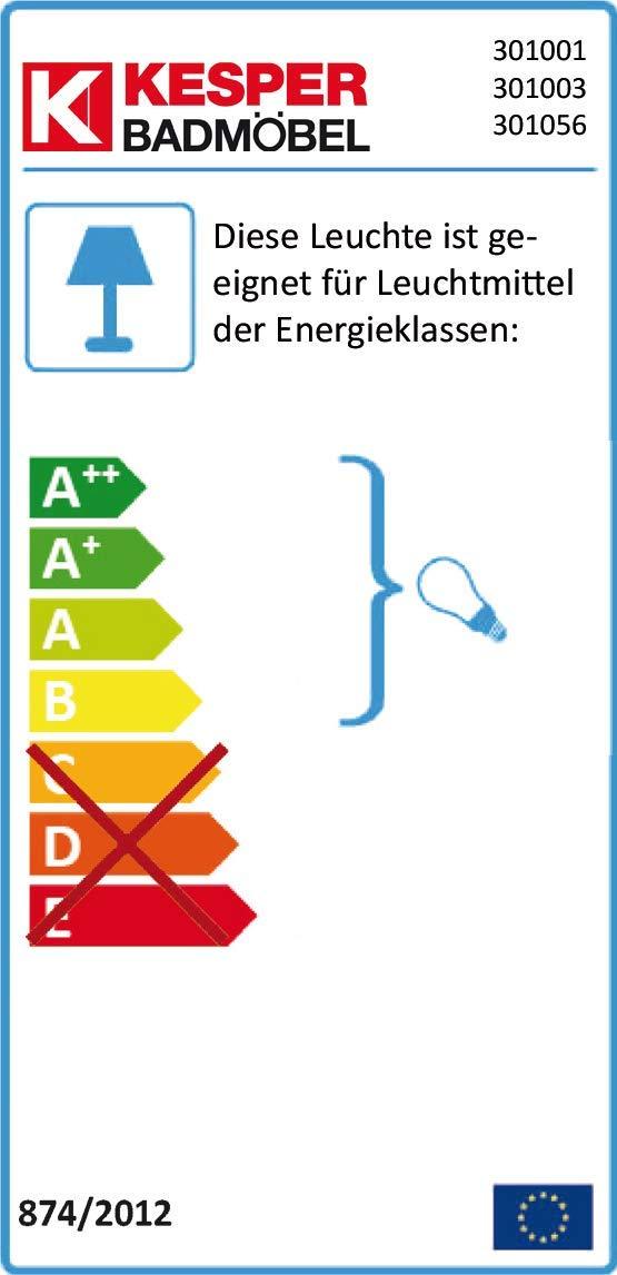 Kesper Badmöbel 3517900000001002 Spiegelschrank Siena, 2 Türen, 15W Neonleuchte, 74,7 x 80 x 20,5 cm, alu