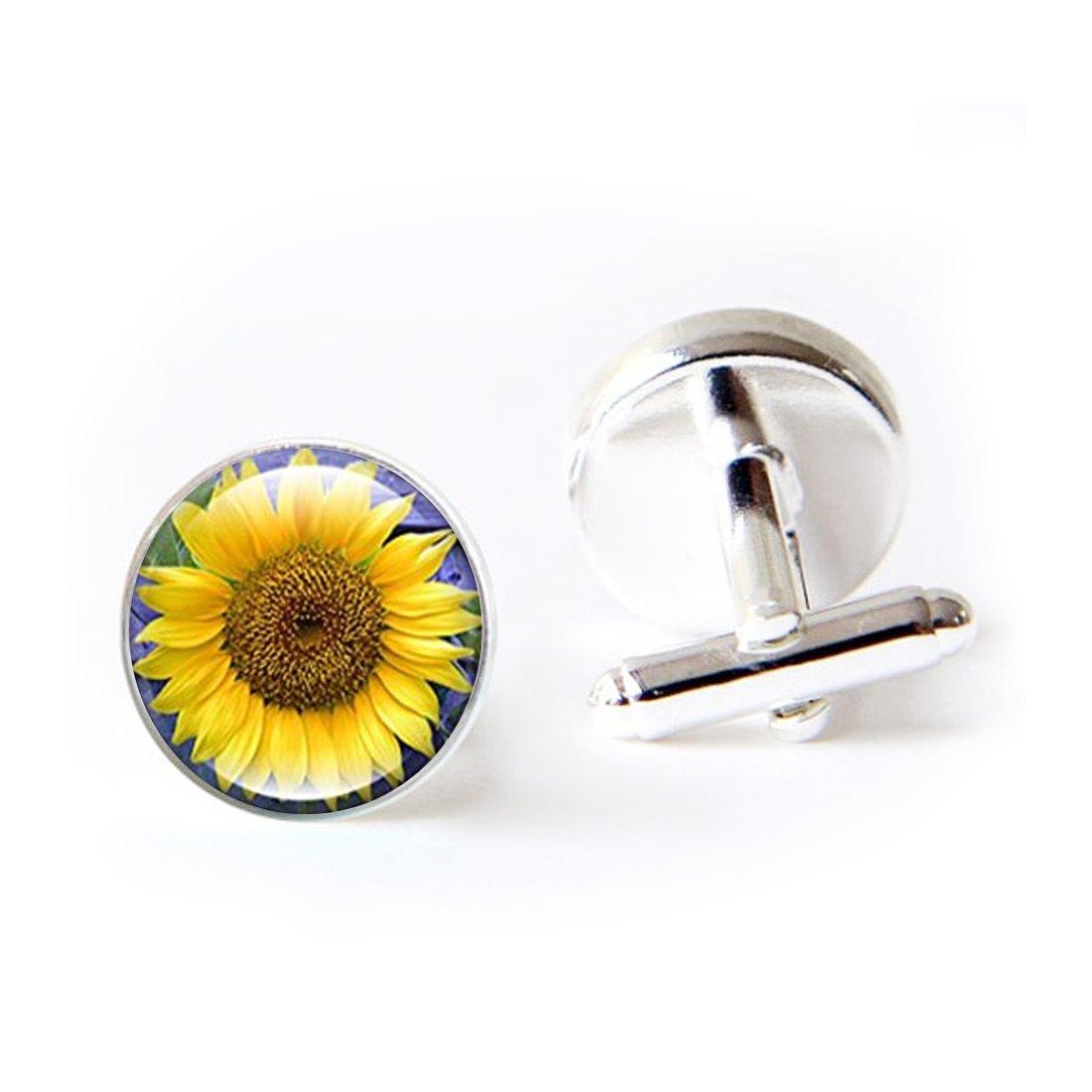 JEANCZ Jewelry Stainless Cufflinks Sunflower Classic Tuxedo Shirt Cufflinks with Elegant Storage Display Box