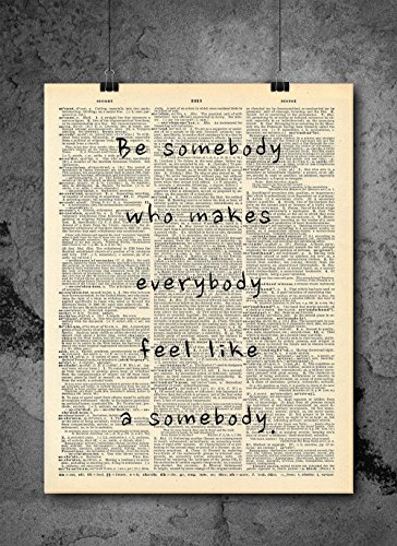 Ready Room - Be Somebody Quote Dictionary Art Print - Vintage Dictionary Print 8x10 inch Home Vintage Art Wall Art for Home Decor Wall Decorations For Living Room Bedroom Office Ready-to-Frame