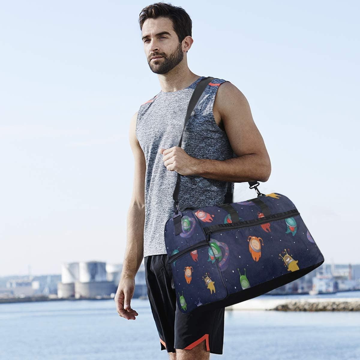 Gym Bag Cartoon Alien Space Starry Planet Duffle Bag Large Sport Travel Bags for Men Women