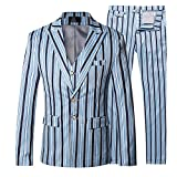 Cloudstyle Mens Stripe Suit Business 3 Piece Suit Slim Fit Wedding Two Button Design Suits