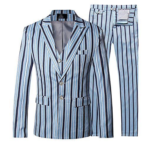 Cloudstyle Mens Stripe Suit Business 3 Piece Suit Slim Fit Wedding Two Button Design Suits by Cloudstyle