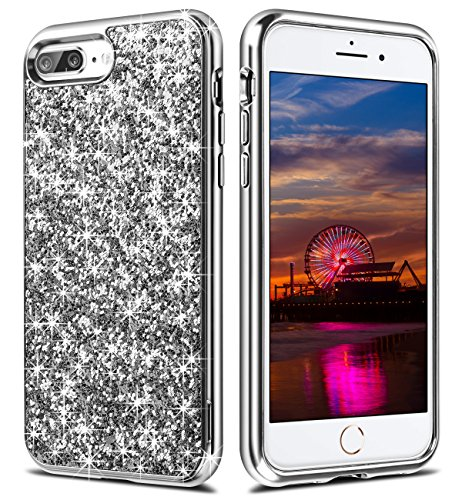 iPhone 7 Plus Case,Wollony Luxury Slim iPhone 8 Plus Bling Shiny Glitter Case w/ Soft Fiber Lining Cushion Hybrid Shock-Absorption Bumper & Anti-Scratch Back Cover for iPhone 7 8 Plus - Silver (Cover Silver Phone)