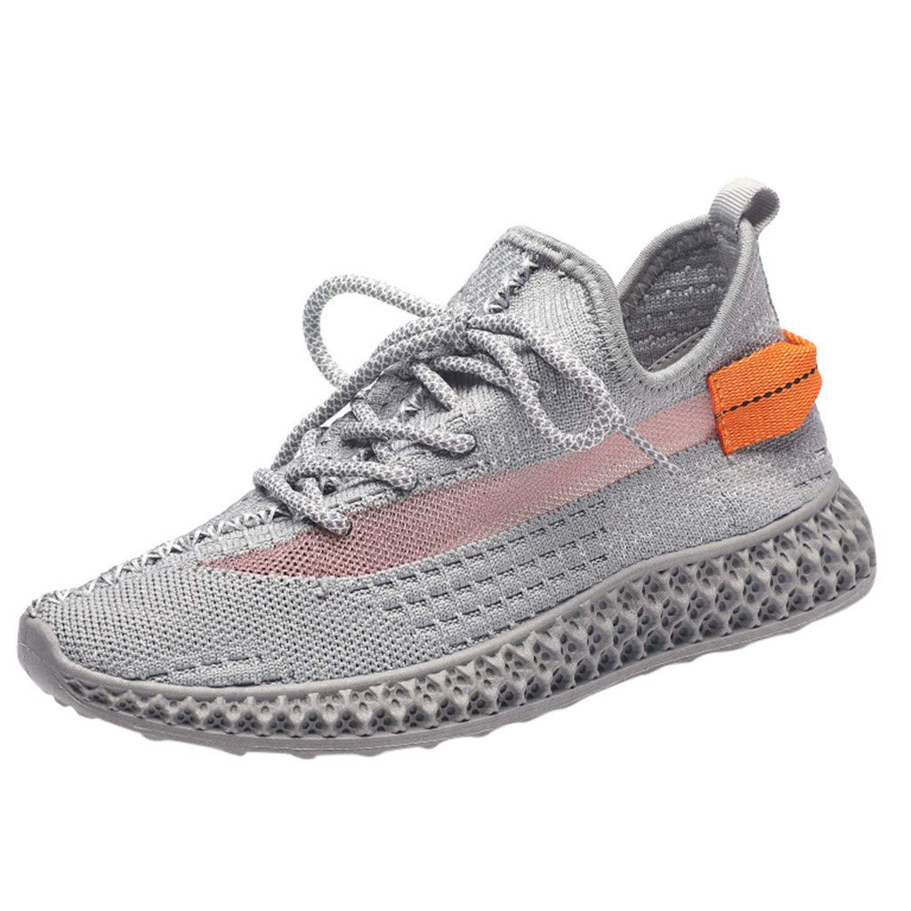 Dermanony Women's Outdoors Athletic Shoes Casual Woven Mesh Breathable Shoes Lace up Soft Bottom Sneakers Gray by Dermanony _Shoes