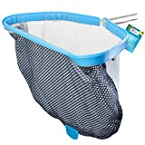 U.S. Pool Supply Professional Heavy Duty 18'' Swimming Pool Leaf Skimmer Rake with Deep Double-Stitched Net Bag - Strong Aluminum Frame for Faster Cleaning & Easier Debris Pickup and Removal