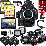 Canon EOS C100 Mark II Cinema Camera + 128GB Extreme SD Card Complete Cinema Lens Kit, Advanced, International Version -  6Ave
