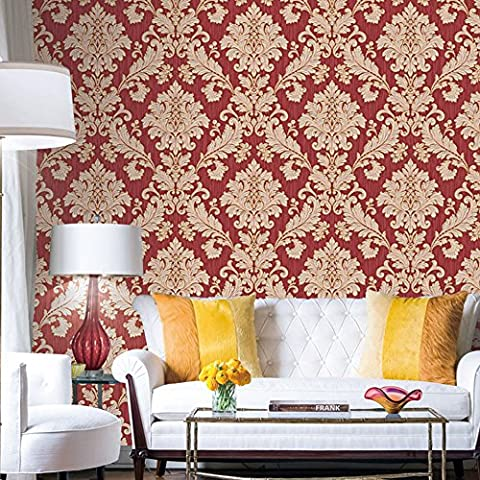 HaokHome 561406 Vintage Luxury Damask Wallpaper Crimson Red/Beige/Gold Glitter Wall Murals Bedroom Living Room Home Decoration 20.8