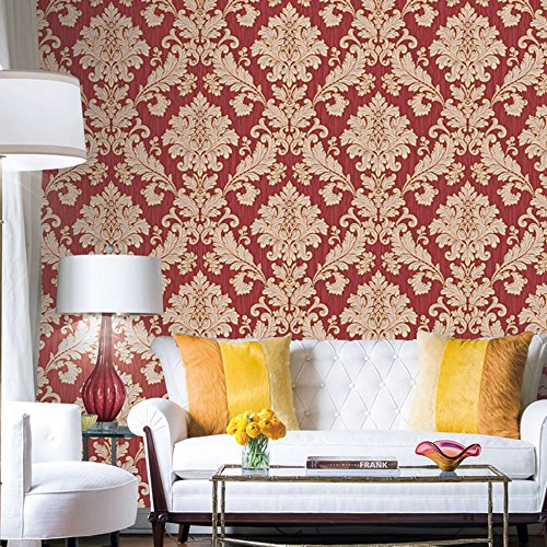HaokHome 561406 Vintage Luxury Damask Wallpaper Crimson Red/Beige/Gold  Glitter Wall Murals Bedroom Living Room Home Decoration 20.8 Part 68