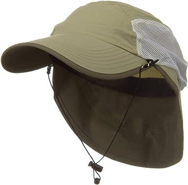 Khaki MG Mens UV 50 Drawstring Flap Cap