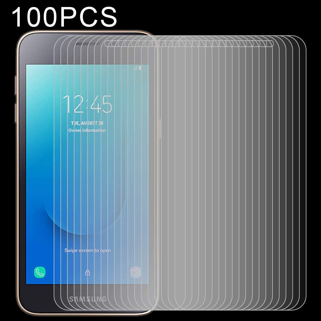 HUFAN 100 PCS 0.26mm 9H 2.5D Explosion-Proof Tempered Glass Film for Galaxy J2 Core Phone Glass Film